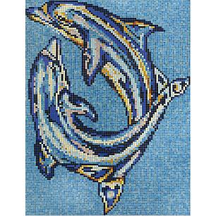 Disegno in mosaico delfini - Disegni mosaico per bagno ...